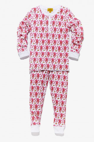 Kids Monkey Pajama Set in Pink