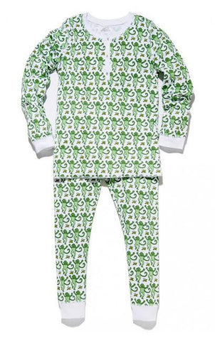 Kids Monkey Pajama Set in Green