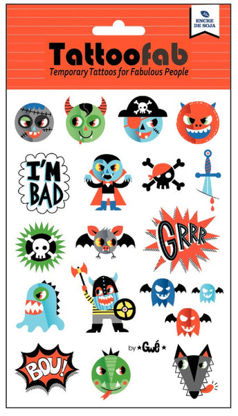 Mini Monsters Temporary Tattoo Set