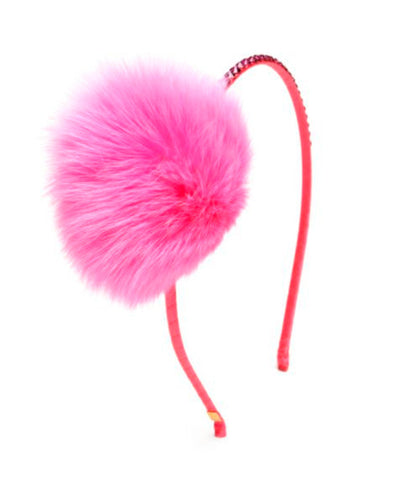 Embellished Pompom Fur Headband in Neon Pink
