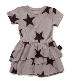 Layered Star Dress in Heather Grey