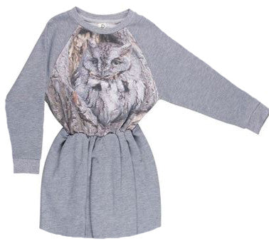 Owl Print Sweatshirt Dress