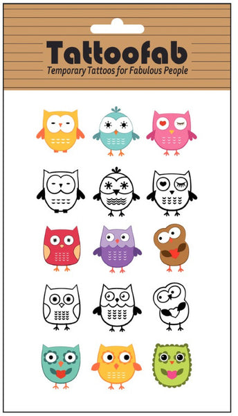 Owl Temporary Tattoo Set
