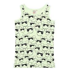 Masked Bears Tank in Pale Lime