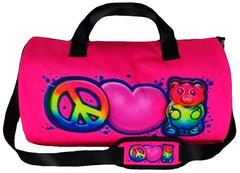Peace , Love & Gummies Airbrush Pink Duffle Bag