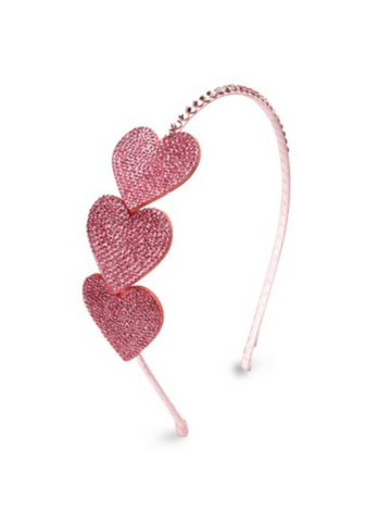 Rhinestone Heart Headband in Pink