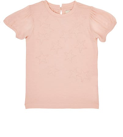 Girls Scribble Star Patch Shirt with Chiffon Sleeves in Pink