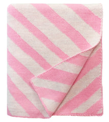 Diagonal Stripe Baby Blanket in Pink Multi