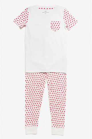 Kids T-Shirt Pajama Set in Heart Print