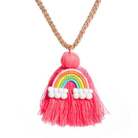 Large Rainbow Tassel Necklace in Hot Pink