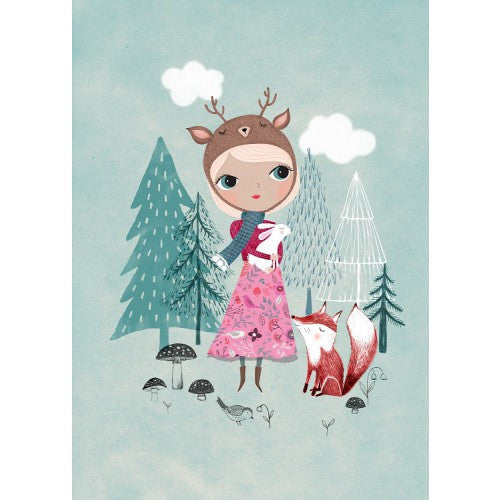 Nature Girl With Dear Hat and Fox Print