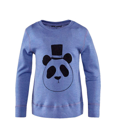Panda Long Sleeve Wool Tee in Blue