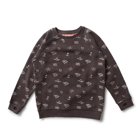 Road Map Sweatshirt in Soft Black