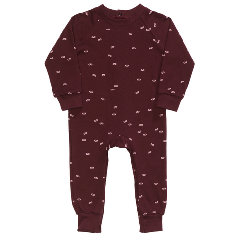Long Sleeve Mini Masks Romper in Bordeaux