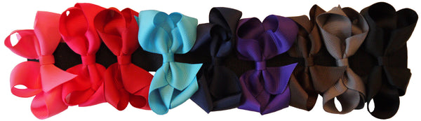 Medium Hair Bow 9 Piece Boxed Set - Dark Colors
