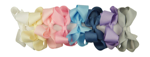 Medium Hair Bow 8 Piece Boxed Set - Pastel Colors