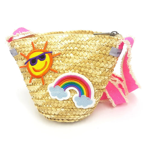 Straw Crossboody Bag with Rainbow and Sun Patch Detail