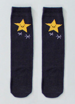 Star Knee Socks in Charcoal