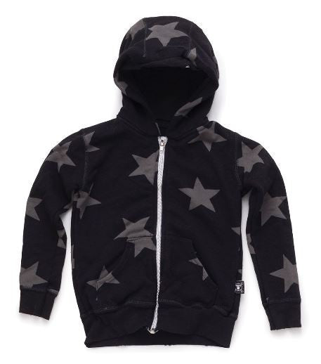 Star Zip Hoodie in Black