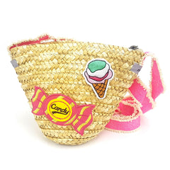 Straw Crossboody Bag with Ice Cream & Candy Patch Detail