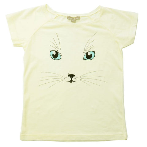 Little Girls Cat Tee in Pale Yellow