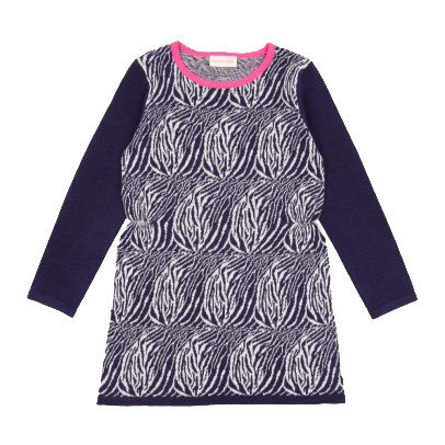 """Utica"" Zebra Sweater Dress in Navy"
