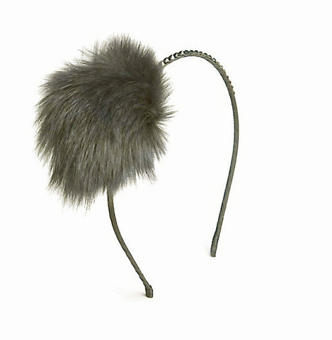 Embellished Pompom Fur Headband in Dark Grey