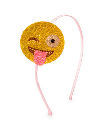 Rhinestone Emoji Headband - Wink/Tongue