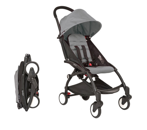 Babyzen YOYO Stroller -  Black Frame With Grey Canopy