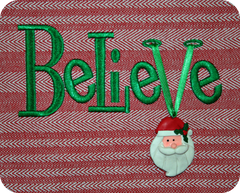 Believe Embroidery Design with Ribbon Insert