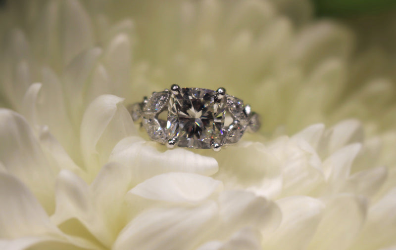 Platinum Cushion Vintage Style Diamond Ring