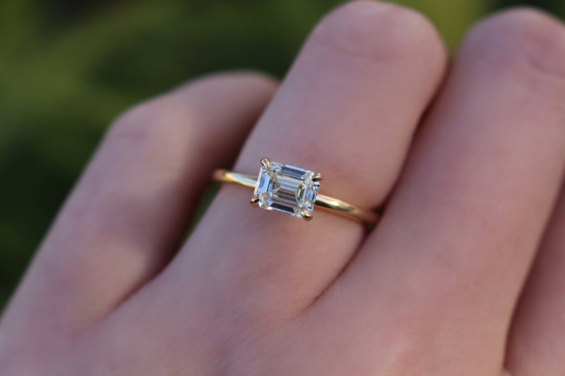 18ct Yellow Gold East West Emerald Cut 1.05ct Diamond Solitaire Ring