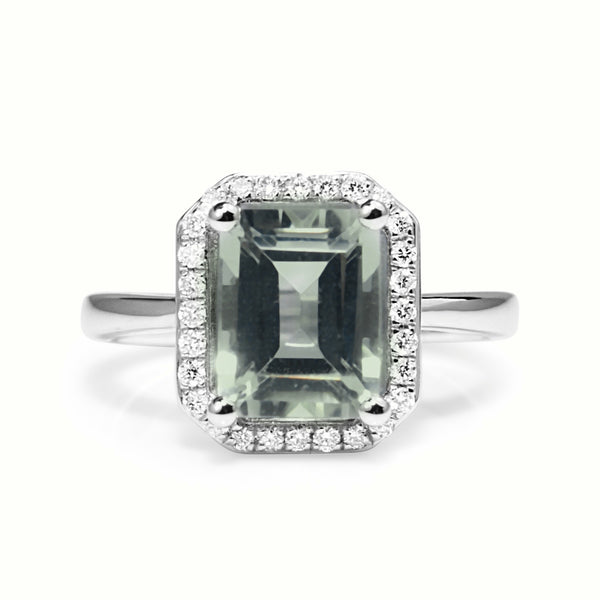 9ct White Gold Green Amethyst and Diamond Halo Ring