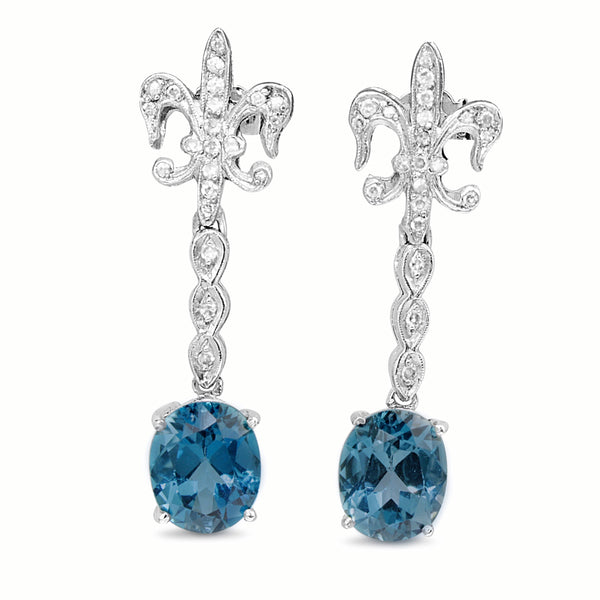 Palladium Vintage London Blue Topaz and Diamond Fleur De Lis Earrings