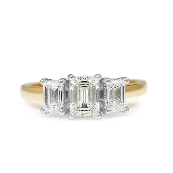 18ct Yellow and White Gold 3 Stone Emerald Cut Diamond Ring