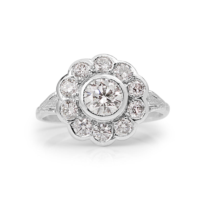 18ct White Gold Edwardian Style Diamond Daisy Ring