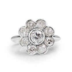 18ct White Gold Old Cut Diamond Daisy Ring