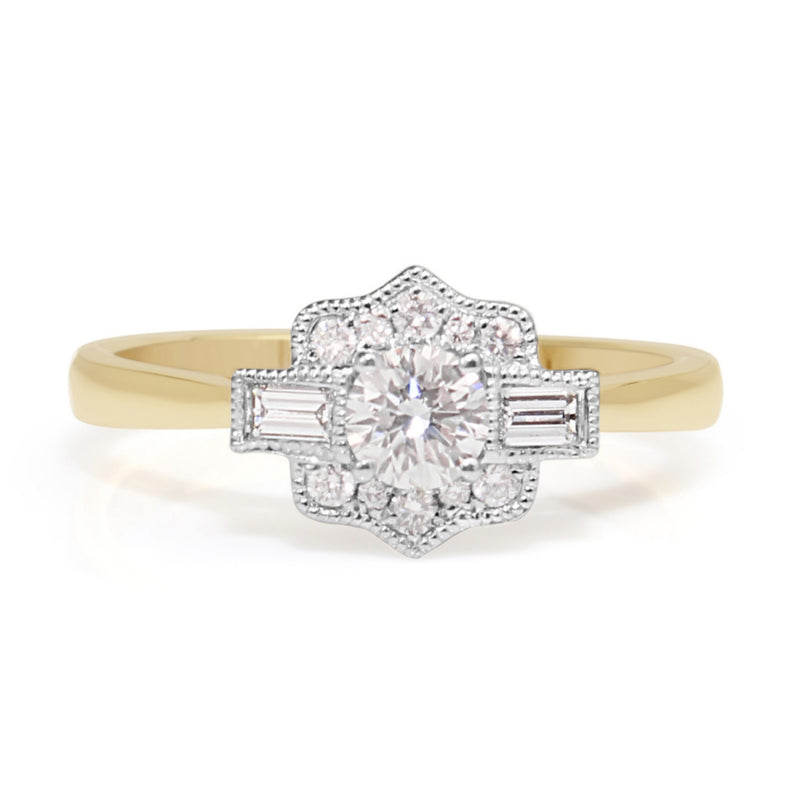 18ct Yellow and White Gold Art Deco Style Diamond Ring