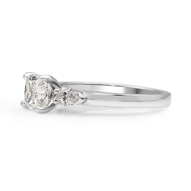 18ct White Gold Cushion and Pear Diamond 3 Stone Ring