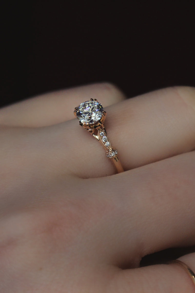 18ct Rose Gold Vintage Style Solitaire Ring