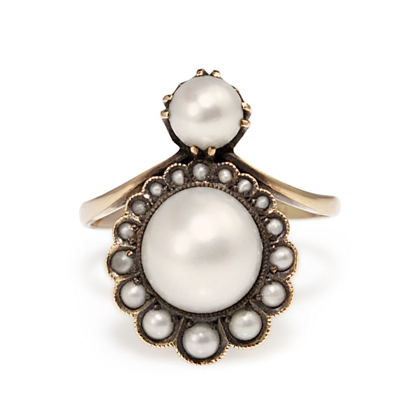 14ct Yellow Gold Antique Belle Époque Pearl Ring