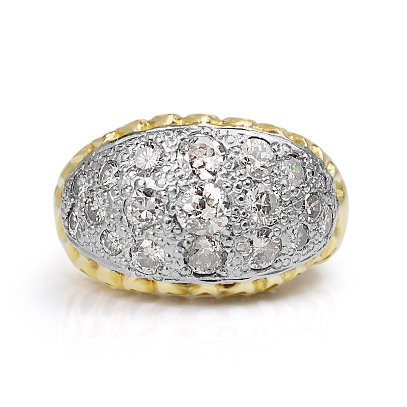 18ct Yellow and White Gold Vintage Ring with Old Cut Diamonds