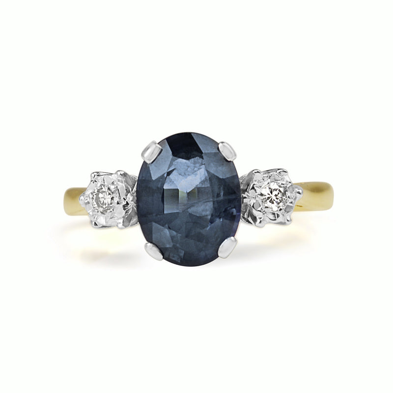18ct Yellow Gold and Platinum Sapphire and Diamond 3 Stone Ring