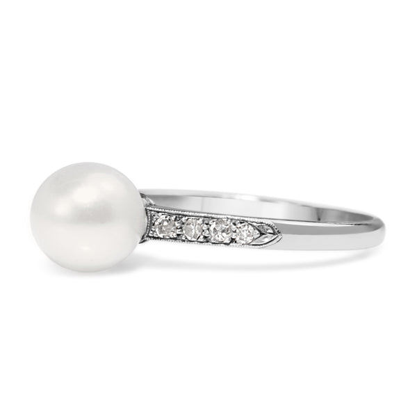Platinum Vintage Pearl and Diamond Ring