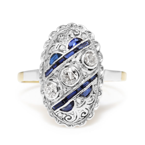 18ct Yellow and White Gold Art Deco Old Cut Diamond and Sapphire Ring