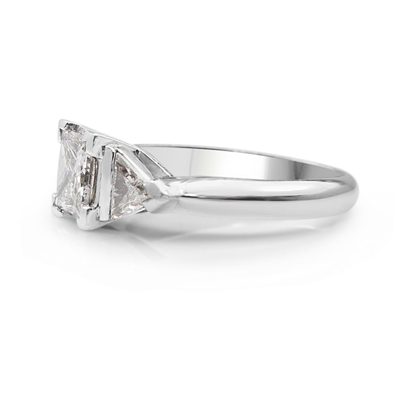 18ct White Gold Princess and Trillion Diamond 3 Stone Ring