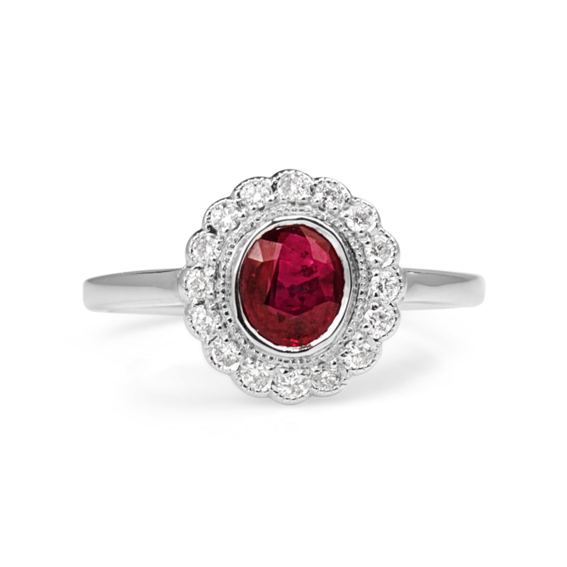 9ct White Gold Natural Ruby and Diamond Daisy Ring
