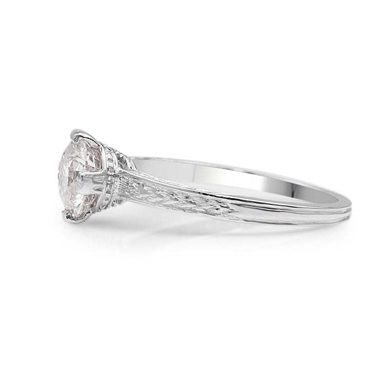 Platinum Vintage Etched Solitaire Ring