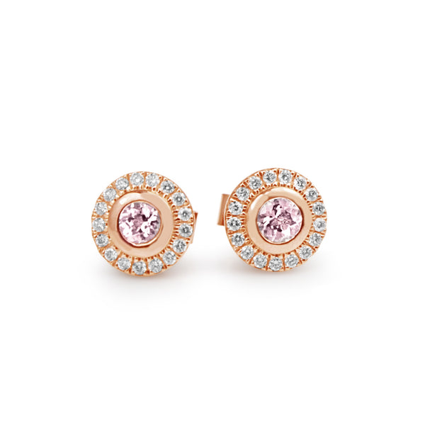 9ct Rose Gold Morganite and Diamond Halo Stud Earrings