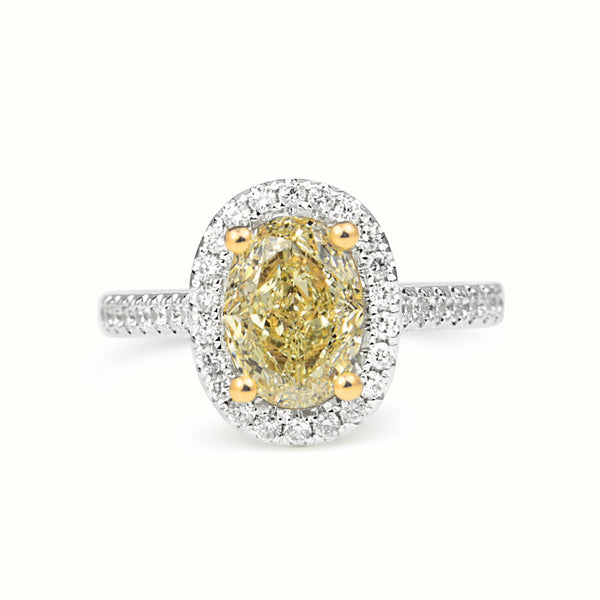 18ct Yellow and White Gold Fancy Yellow Oval Diamond Ring